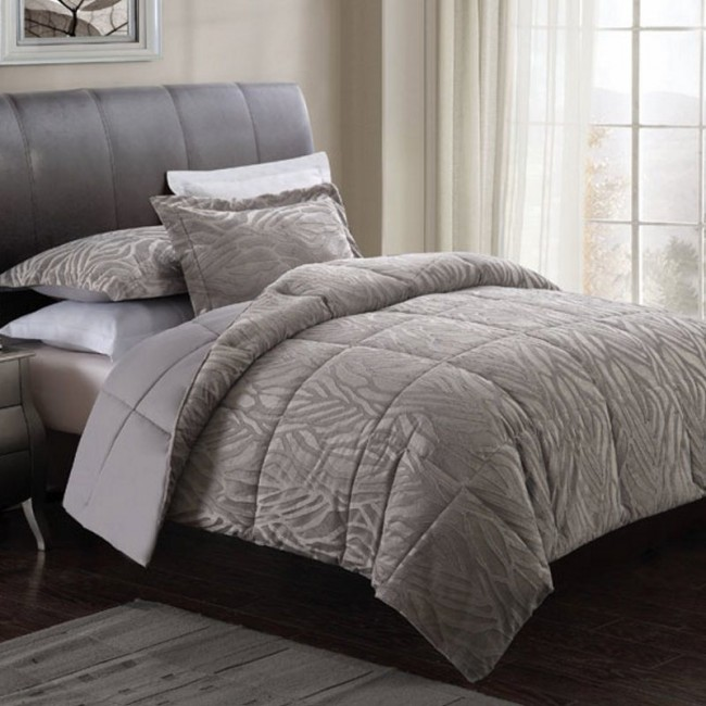 Gray Zebra Embossed Comforter Set